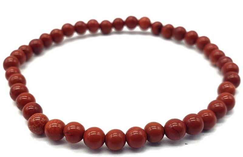 Bracciale Jasper rosso con perle 4mm
