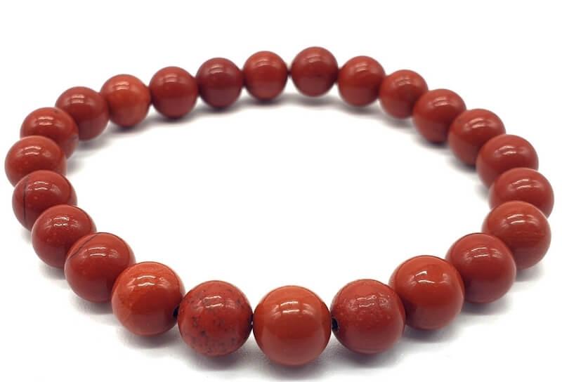 Bracelet Jaspe Rouge perles 8mm