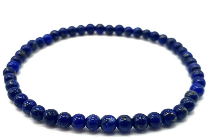 Bracciale Lapislazzuli 'A' Naturale perline 4mm