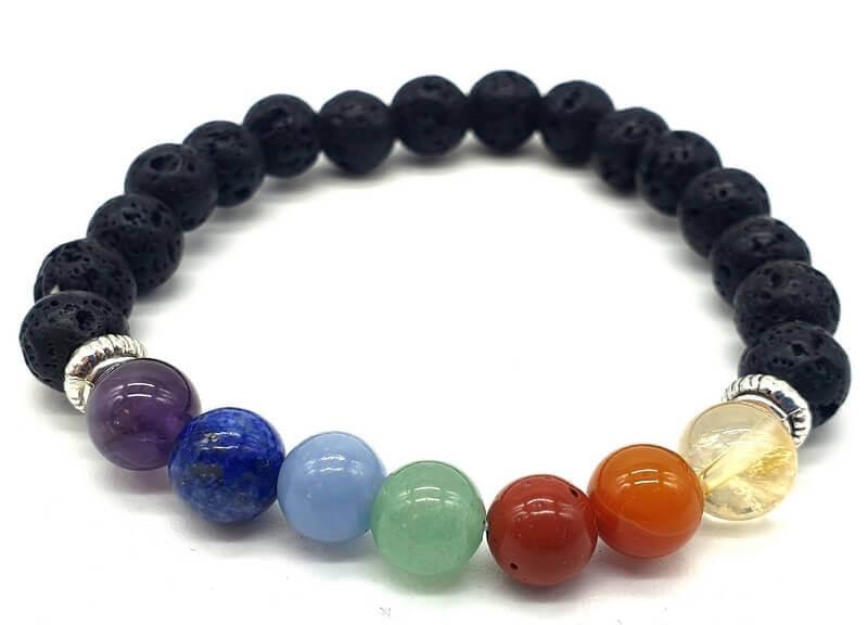 Bracciale Pietra di Lava & 7 chakra perle 8mm