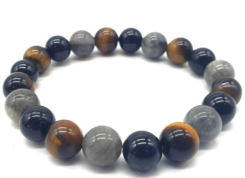 Bracelet Labradorite, Tourmaline noire, Oeil de tigre perles 10mm