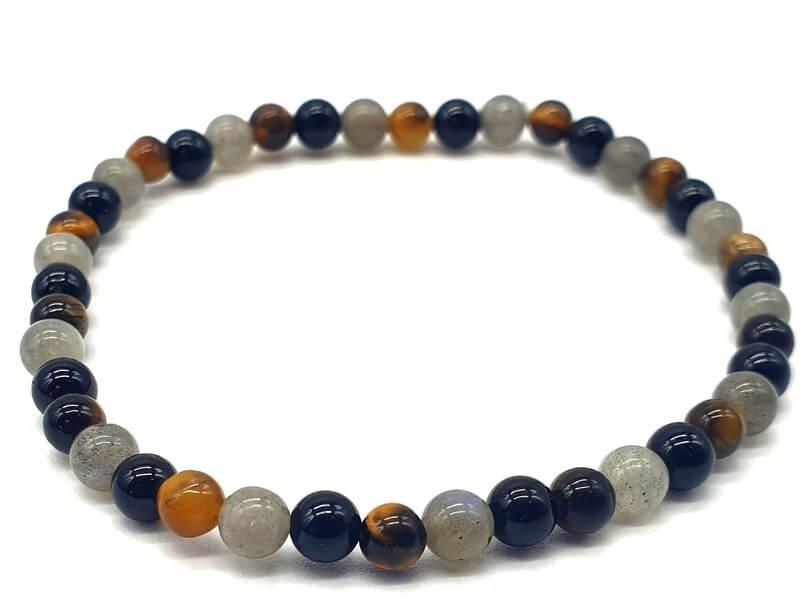 Bracelet Labradorite, Tourmaline noire, Oeil de tigre perles 4mm