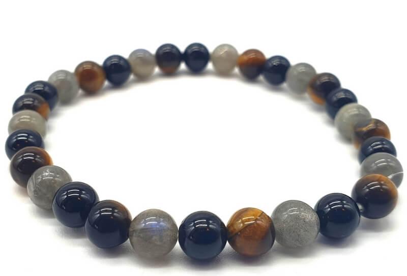 Bracelet Labradorite, Tourmaline noire, Oeil de tigre perles 6mm