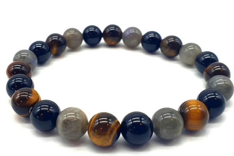 Bracelet Labradorite, Tourmaline noire, Oeil de tigre perles 8mm