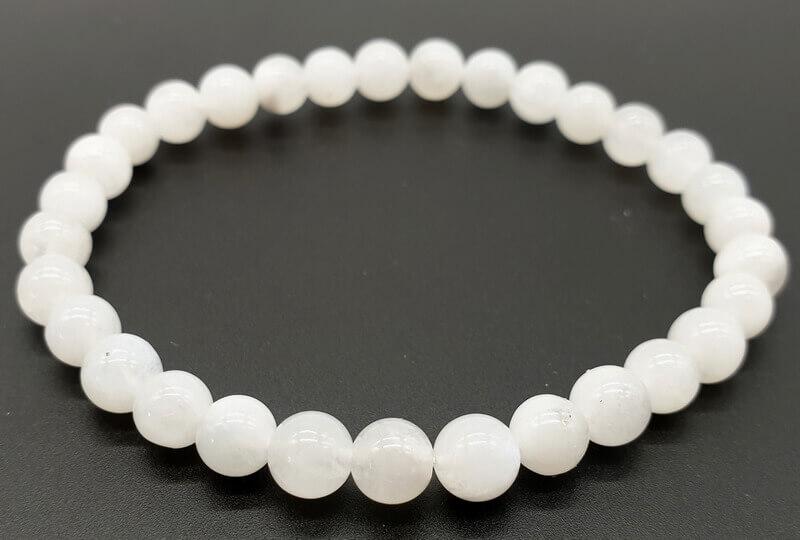 Bracelet Pierre de Lune Blanche perles 6mm