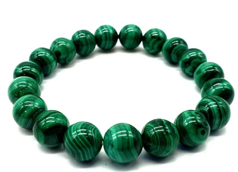 Bracelet 'Light Green' Malachite perles 10mm