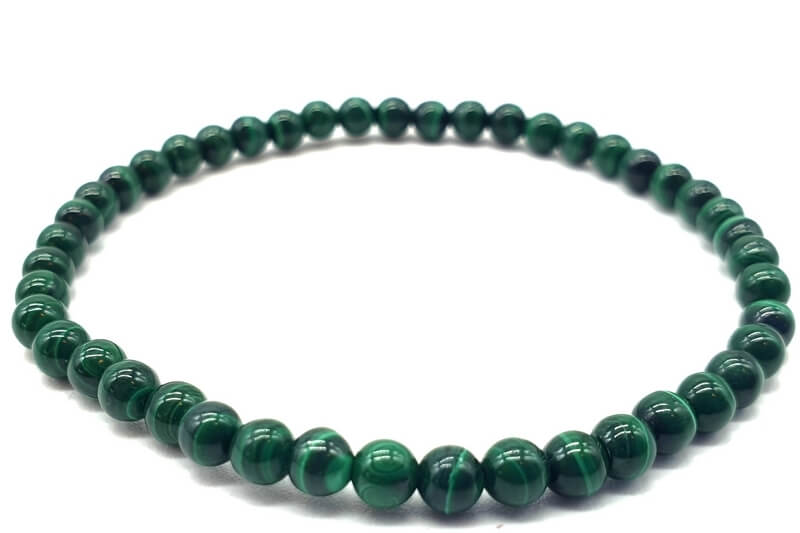 Bracelet 'Dark' Malachite perles 4mm