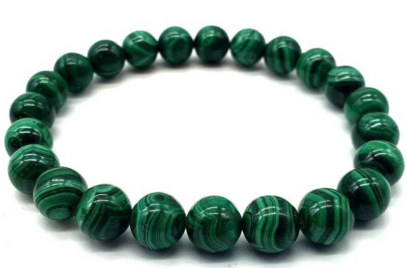 Bracelet 'Light Green' Malachite perles 8mm