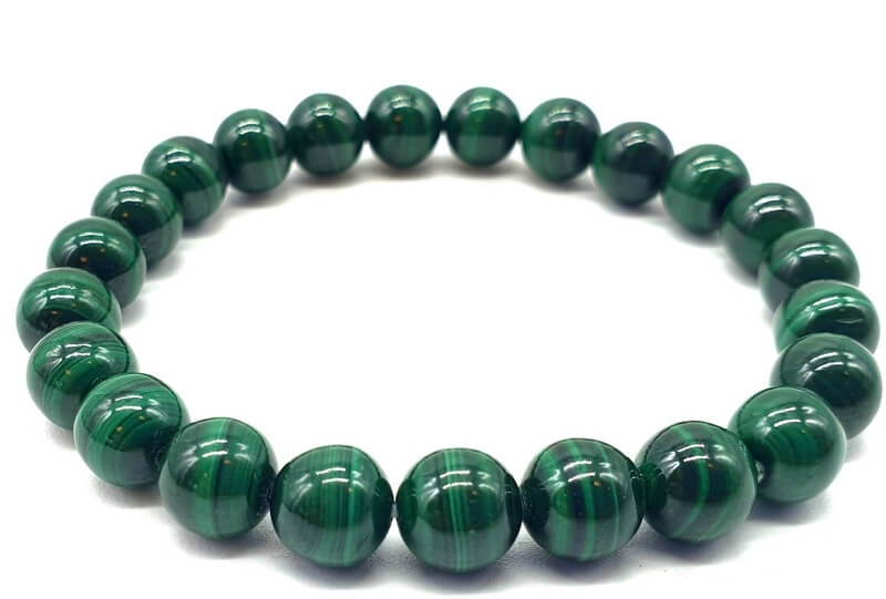 Bracelet 'Dark Green' Malachite perles 8mm