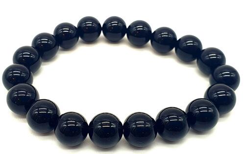 Bracelet Obsidienne Noire perles 10mm
