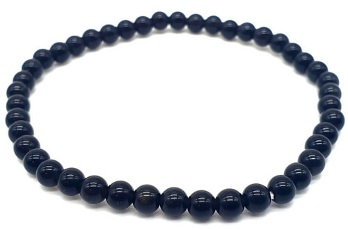 Bracelet Obsidienne Noire perles 4mm