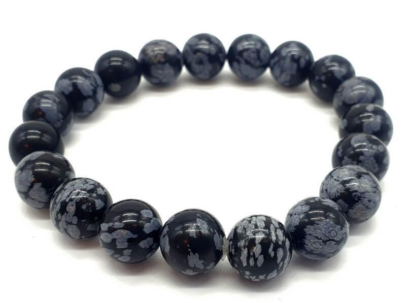Bracelet Obsidienne Neige perles 10mm