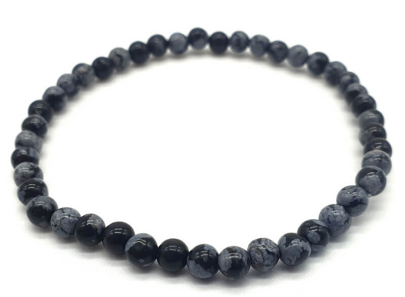 Bracelet Obsidienne Neige perles 4mm