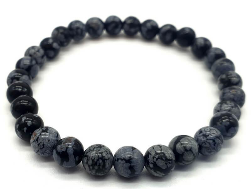 Bracelet Obsidienne Neige perles 6mm