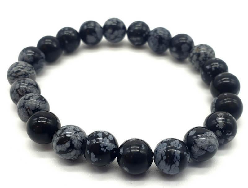 Bracelet Obsidienne Neige perles 8mm