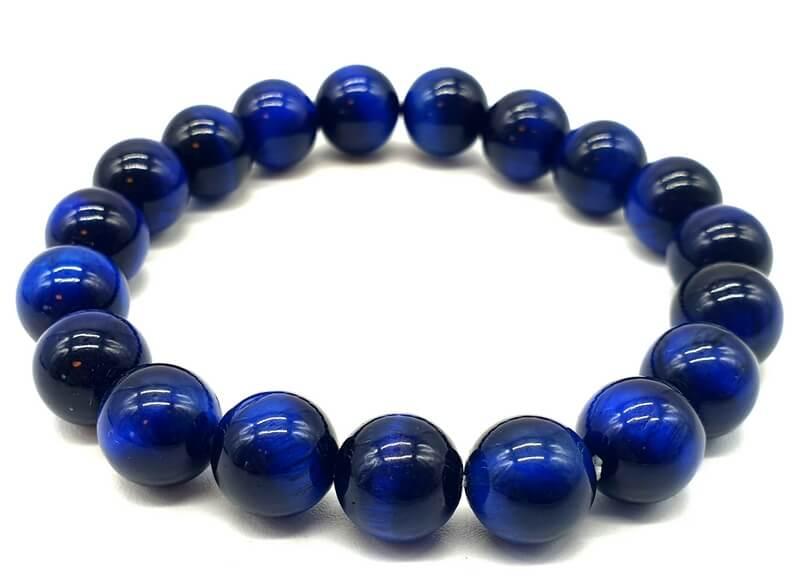 Bracelet Oeil de Tigre Bleu perles 10mm
