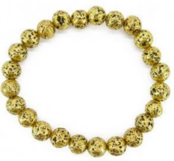 Bracelet Pierre de Lave plaqué Or perles 6mm