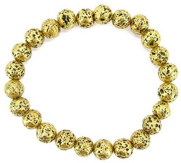 Bracelet Pierre de Lave plaqué Or perles 8mm