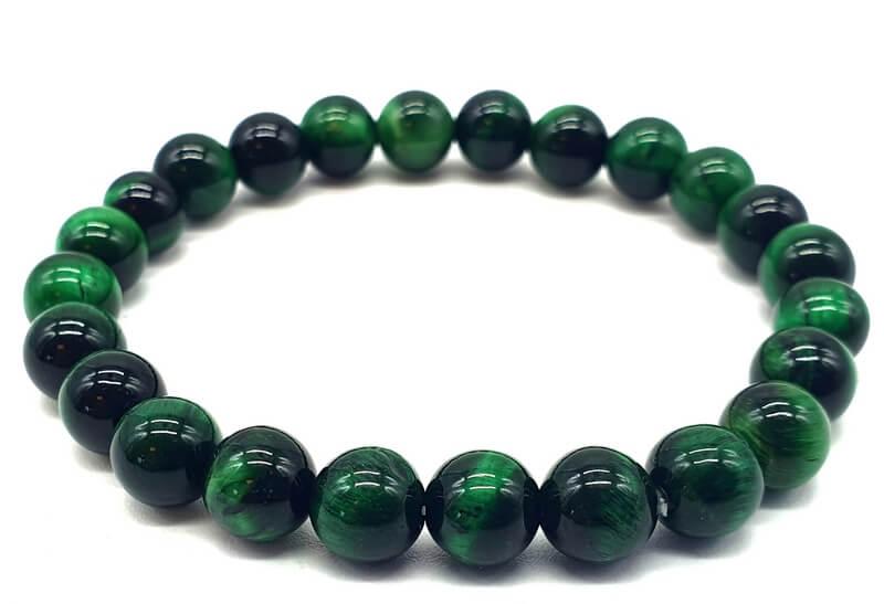 Bracelet Oeil de Tigre Vert perles 8mm