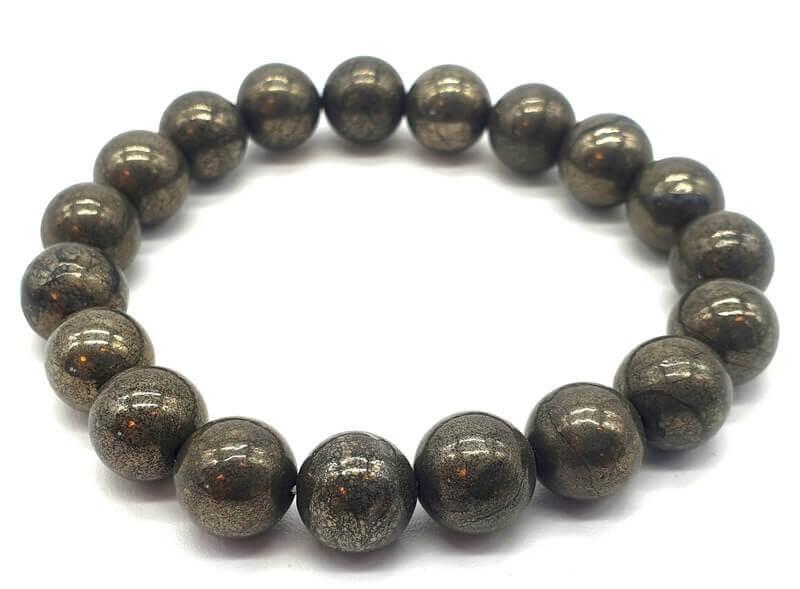 Braccialetto di perle di pirite 10mm