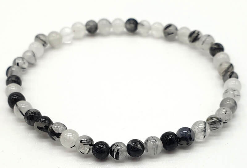 Bracelet Quartz Tourmaline Perles 4mm