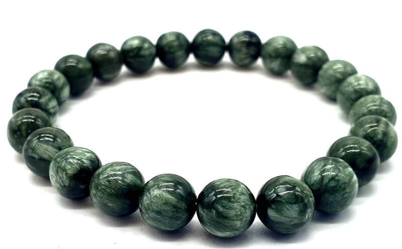 Bracelet Séraphinite perles 8mm