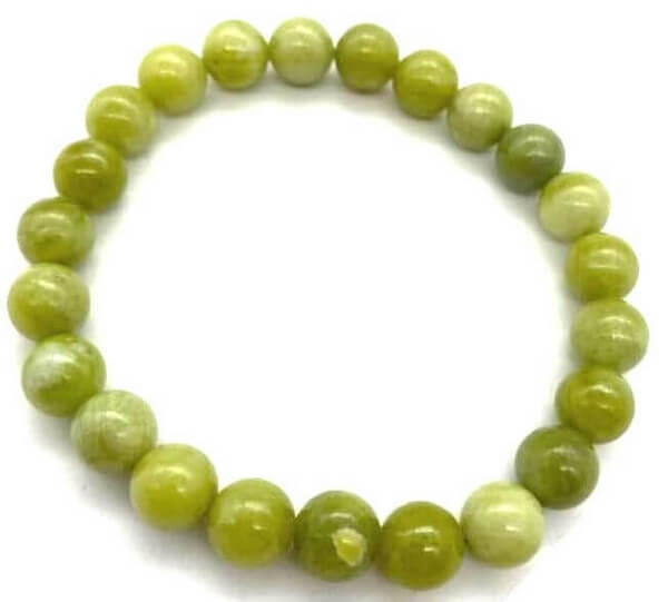 Bracelet Serpentine Jade perles 8mm