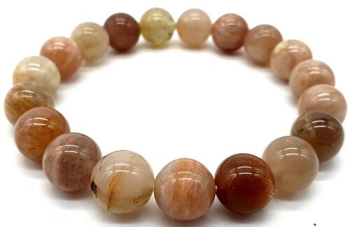 Braccialetto autentico Sunstone da 10 mm con perle