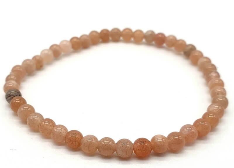 Bracelet Pierre de Soleil véritable perles 4mm