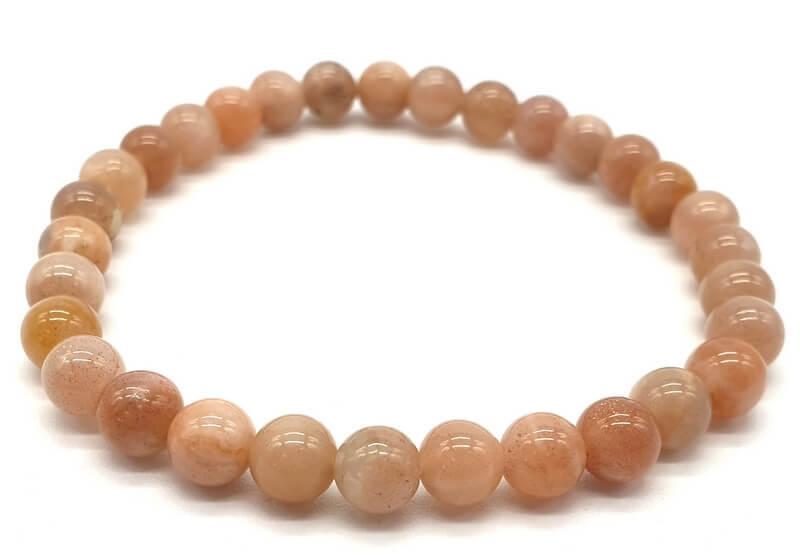 Bracelet Pierre de Soleil véritable perles 6mm