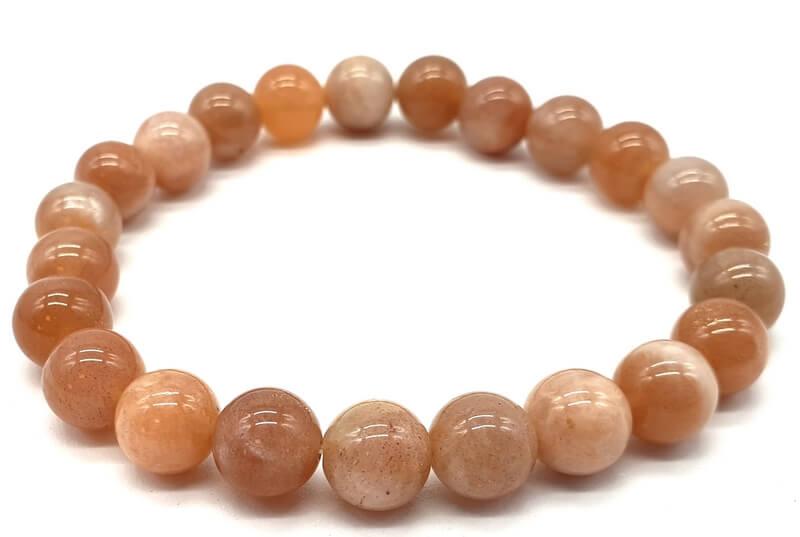 Bracelet Pierre de Soleil véritable perles 8mm