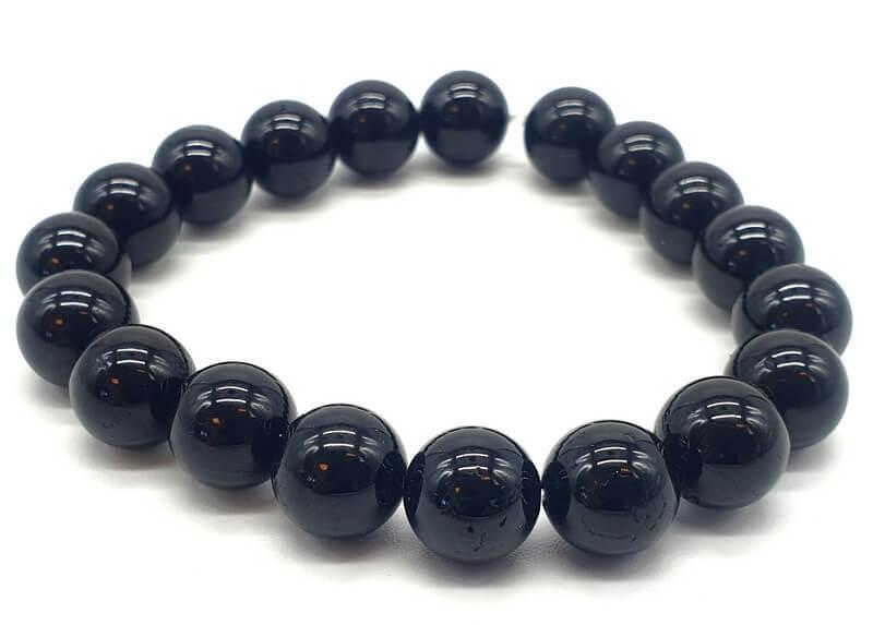 Bracelet Tourmaline Noire perles 10mm
