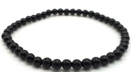 Bracciale in tormalina nera con perle 4mm