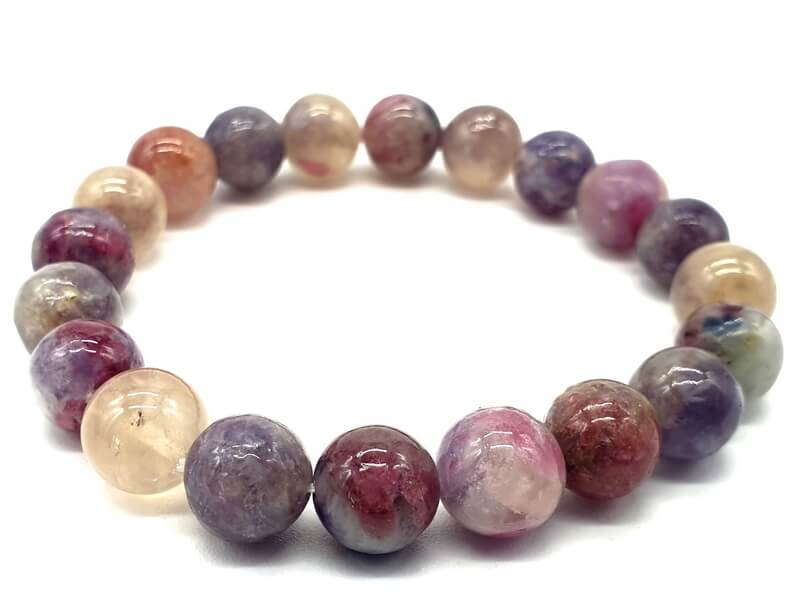 Bracelet Tourmaline Multicolore perles 10mm