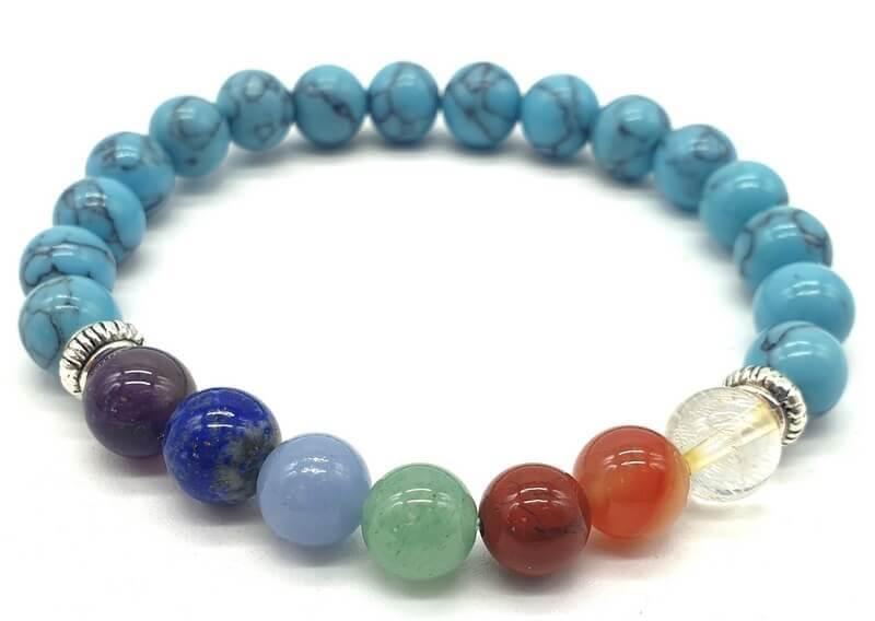 Bracelet Turquoise & 7 Chakras perles 8mm