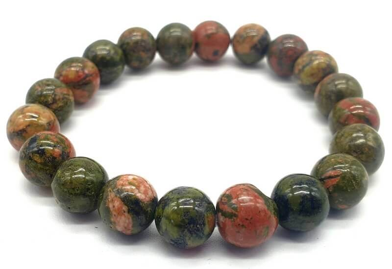 Bracelet Unakite perles 10mm