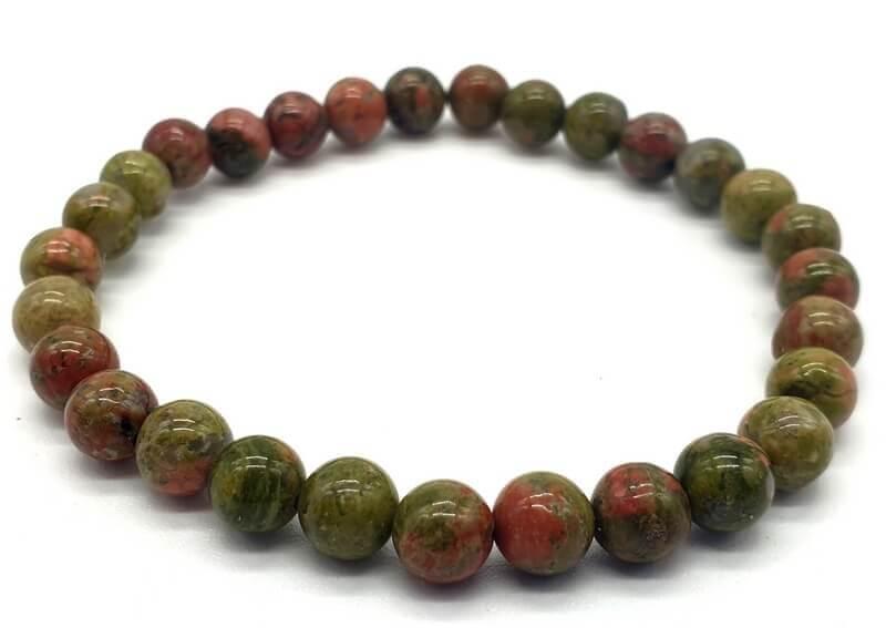 Bracelet Unakite perles 6mm