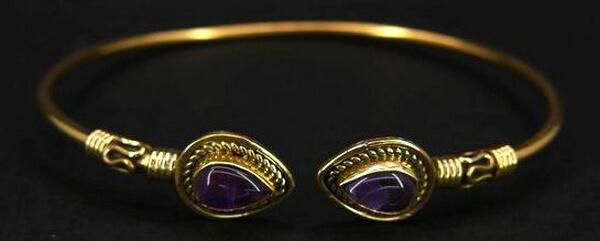 Bracelet Bronze Double Fin Améthyste