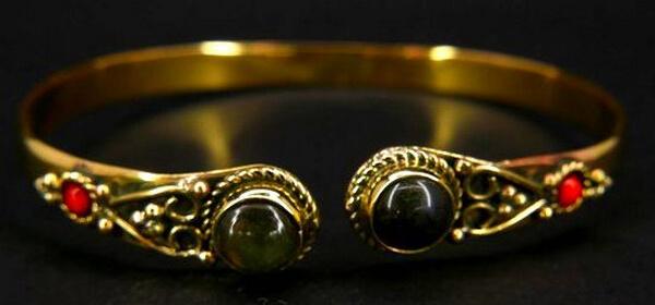 Bracelet Bronze Double Labradorite