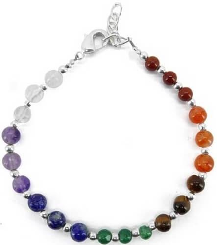 Bracelet 7 Chakras plaqué Argent