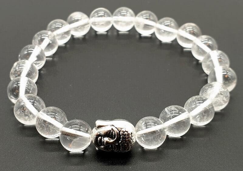 Bracciale Cristallo di Rocca & Buddha perle 8mm