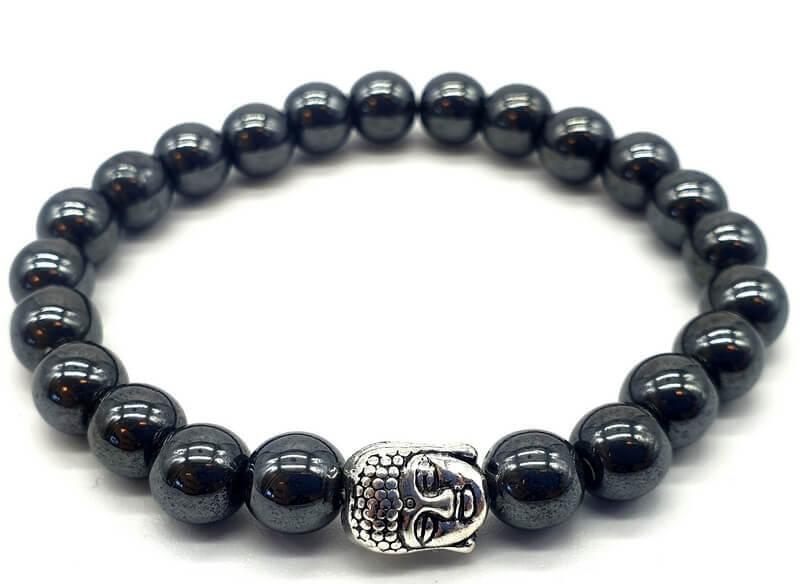 Bracciale Hematite & Buddha perle 8mm