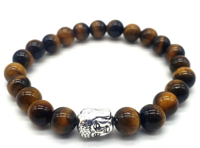 Bracelet Oeil de Tigre & Bouddha perles 8mm