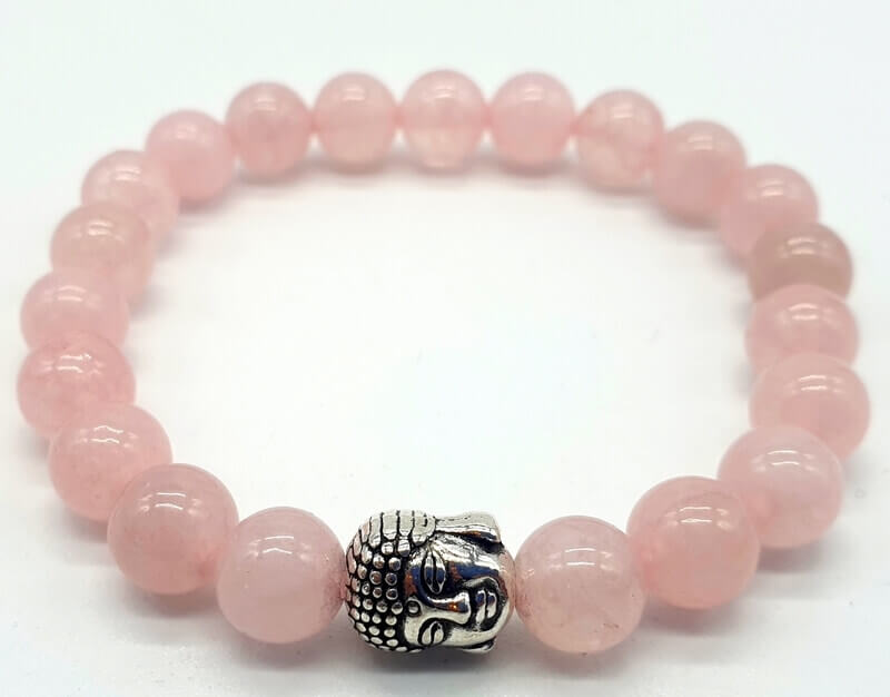 Bracelet Quartz Rose & Bouddha perles 8mm