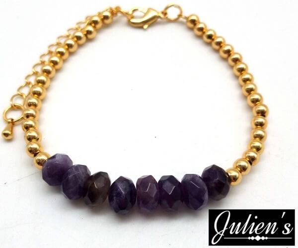 Bracelet Cuivre doré & Rondelles Améthyste Facetté