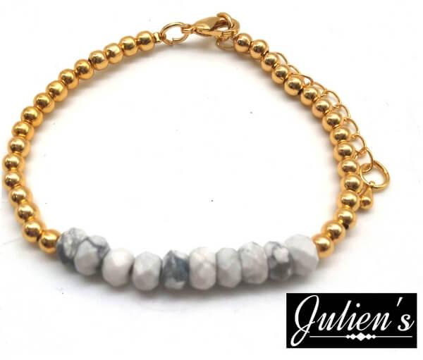 Bracelet Cuivre doré & Rondelles Howlite Facetté