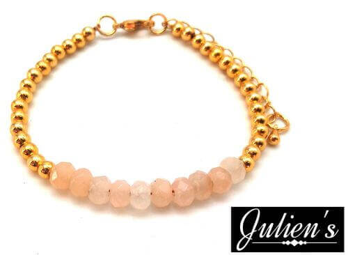 Bracelet Cuivre doré & Rondelles Jade Rose Facetté