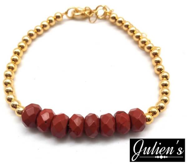 Bracelet Cuivre doré & Rondelles Jaspe Rouge Facetté