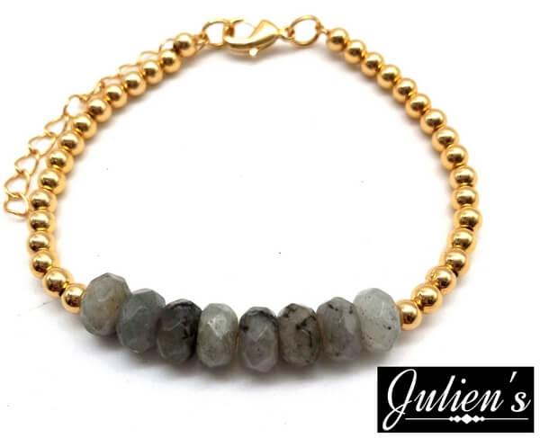 Bracelet Cuivre doré & Rondelles Labradorite Facetté