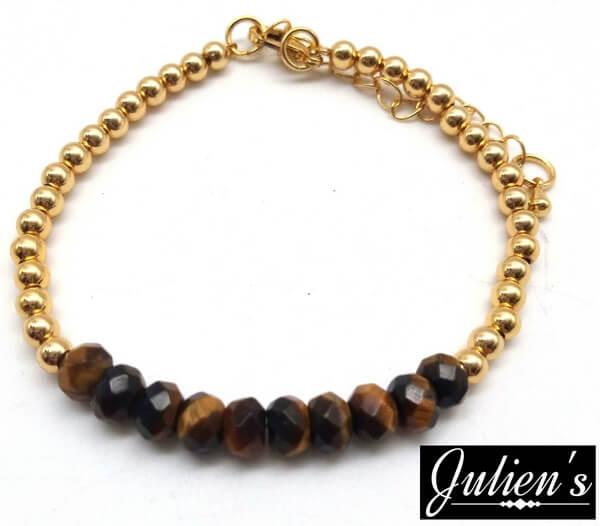 Bracelet Cuivre doré & Rondelles Oeil de Tigre Facetté